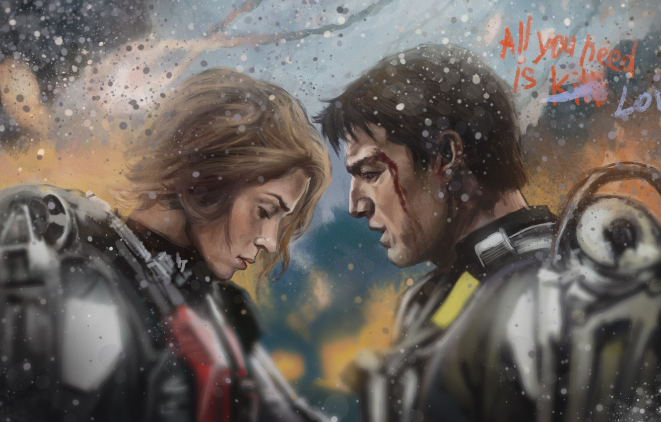 Photo wallpaper art, Emily Blunt, Tom Cruise, Edge of Tomorrow, Edge of tomorrow, Rita Vrataski, William Cage