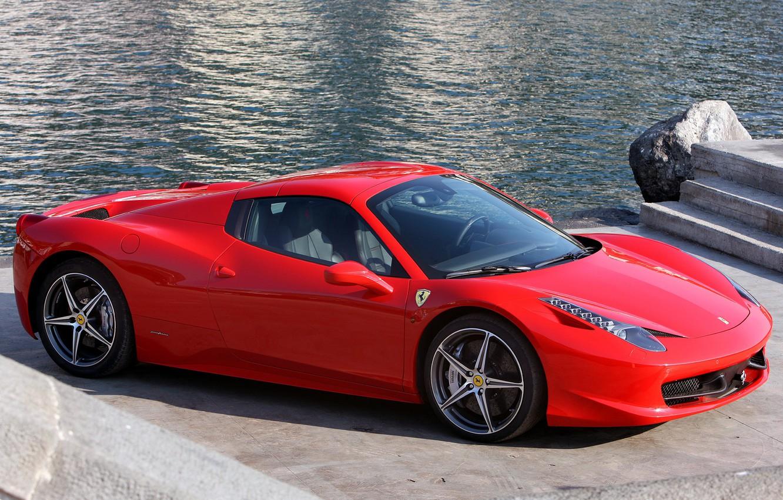 Photo wallpaper red, Ferrari, supercar, red, car, Spider, 458 Italia