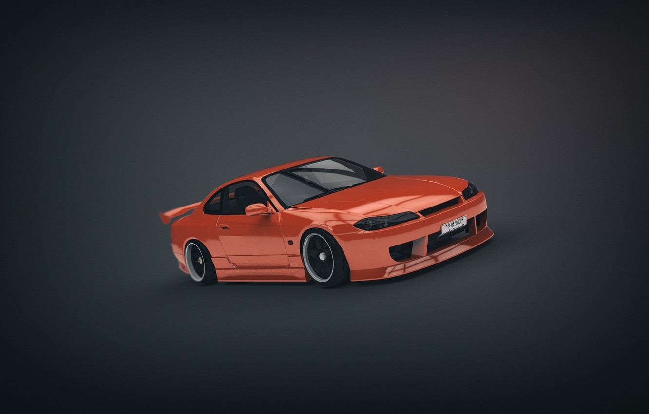 Photo wallpaper Orange, Nissan, Orange, S15, Silvia, Nissan, Sylvia, Minimalistic, Bodywork, by Binary Map