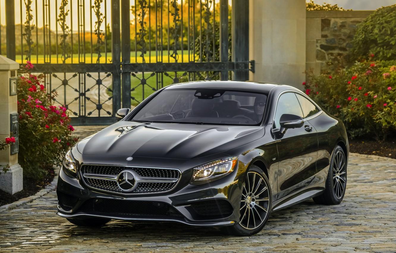 Photo wallpaper black, the fence, Mercedes-Benz, gate, Mercedes, AMG, Black, AMG, 2014, S 550, S-Class, C217