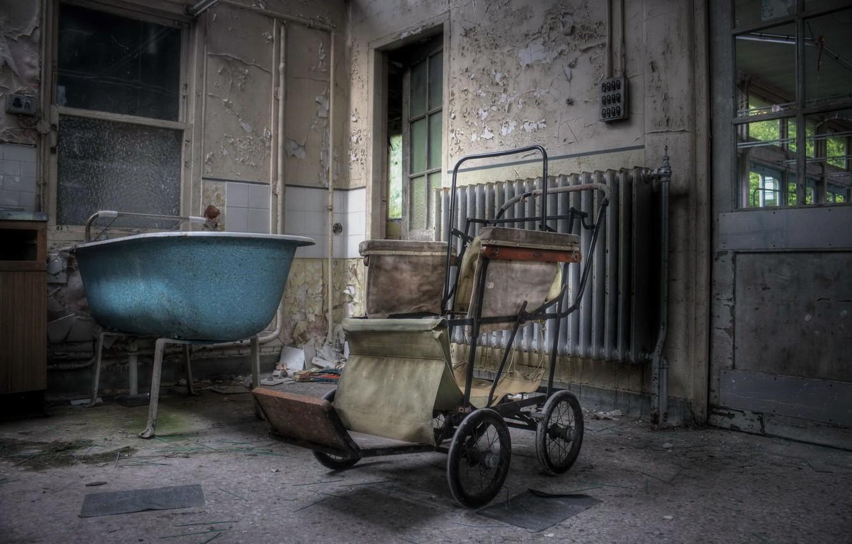 Photo wallpaper bath, stroller, chamber
