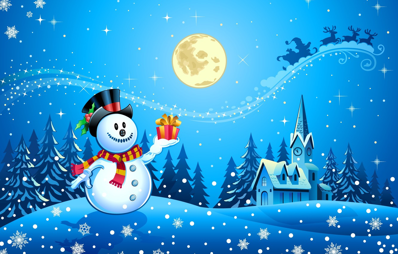 Photo wallpaper snow, trees, snowflakes, watch, new year, home, scarf, snowman, new year, deer, trees, snow, houses, …