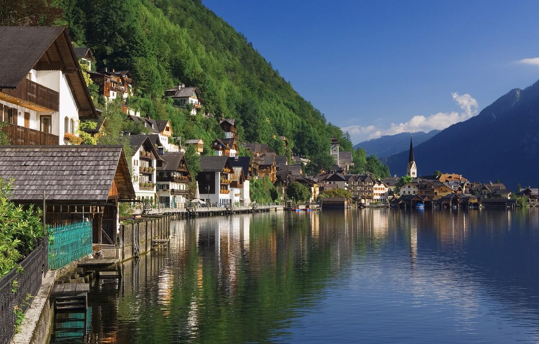 Photo wallpaper Nature, Home, Mountains, The city, Lake, River, Austria, Hallstat, Hills, Landscape, Forest, The Salzkammergut, Austria, …