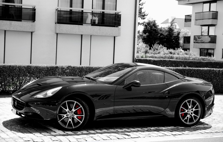 Photo wallpaper black, Ferrari, California, Side
