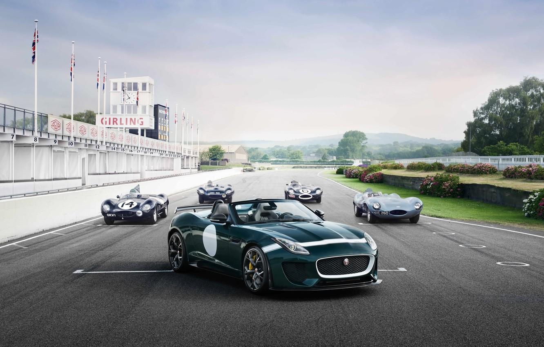 Photo wallpaper car, Jaguar, retro, track, F-Type, Project 7, D-Type