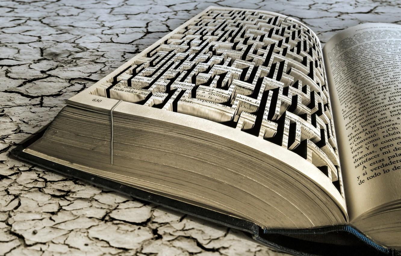 Photo wallpaper macro, maze, book