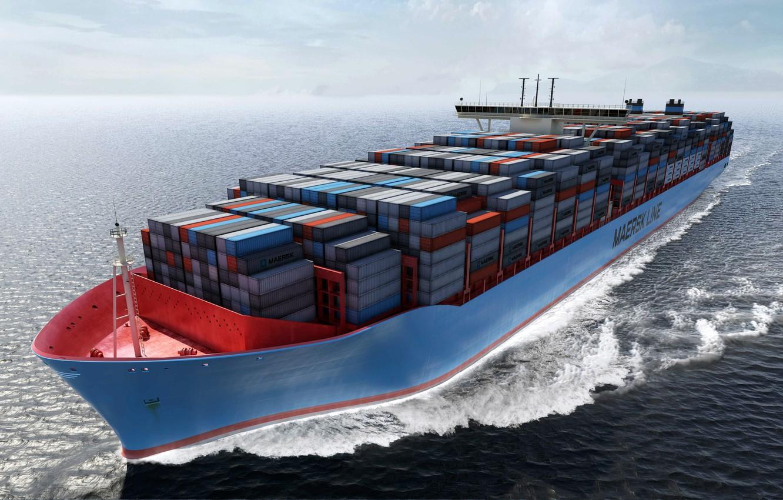 Photo wallpaper Water, Sea, Board, Case, The ship, Graphics, A container ship, Tank, On the go, Cargo, …