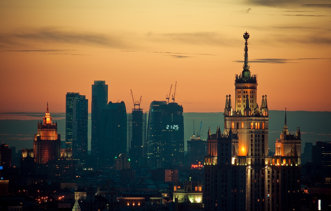 Photo wallpaper sunset, lights, Moscow