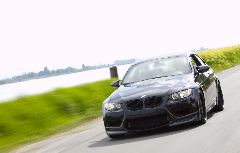 Photo wallpaper road, greens, river, speed, blur, BMW, black
