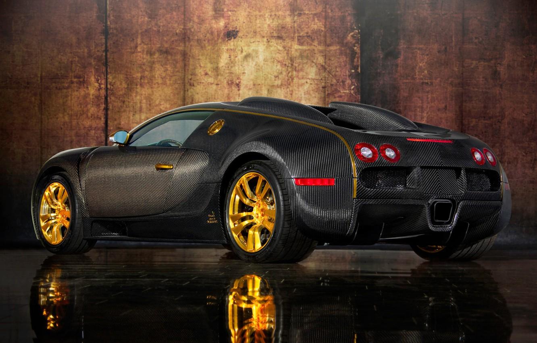Photo wallpaper auto, design, reflection, gold, carbon, sports car, body, Mansory, Bugatti Veyron 16.4 LINEA Vincero d'oro, …