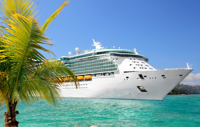 Photo wallpaper palm trees, photo, ship, cruise liner