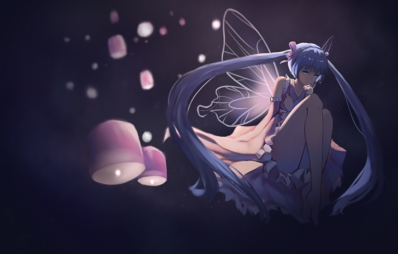 Photo wallpaper background, wings, art, lights, vocaloid, hatsune miku, barli