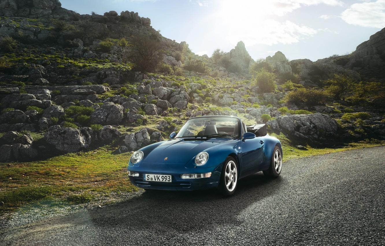 Photo wallpaper road, the sky, stones, 911, Porsche, Convertible, Porsche, Carrera, Cabriolet, Carerra, 1994, 3.6