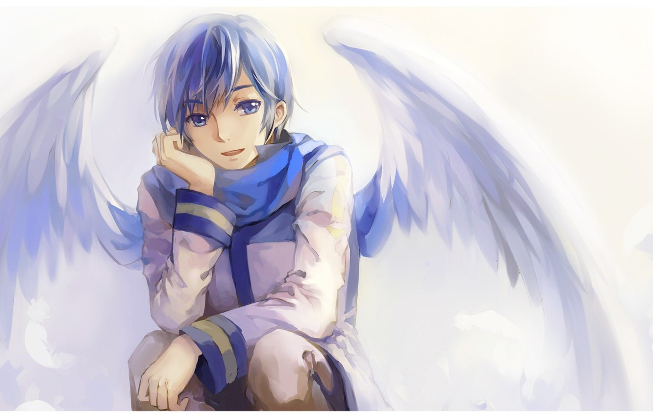 Photo wallpaper wings, angel, scarf, guy, vocaloid, Vocaloid, Kaito
