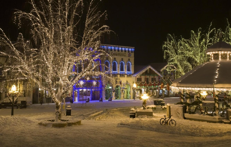 Photo wallpaper snow, night, the city, lights, holiday, street, new year, lights, night city, garland, night, New …