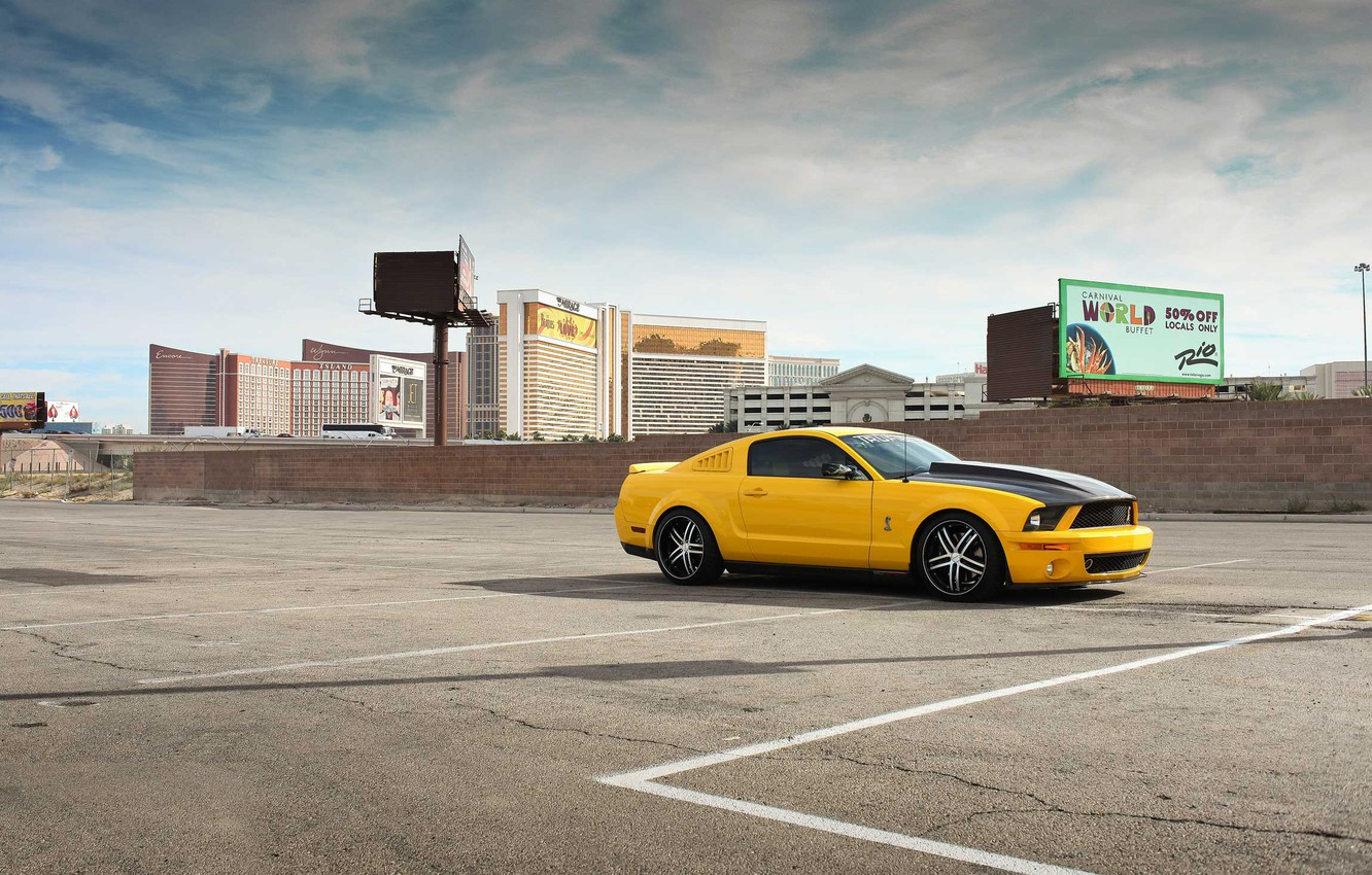 Photo wallpaper auto, yellow, the city, mustang, Mustang, ford, shelby, Ford, Shelby, gt500, rechange, avto