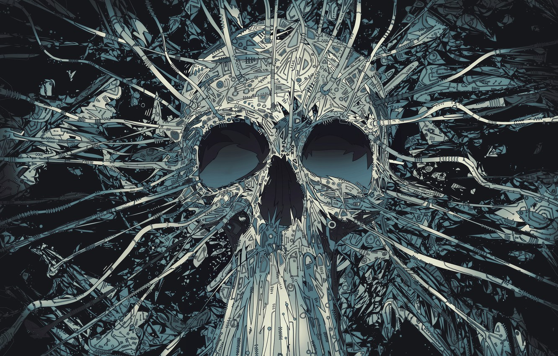 Photo wallpaper line, skull, vector, geometry
