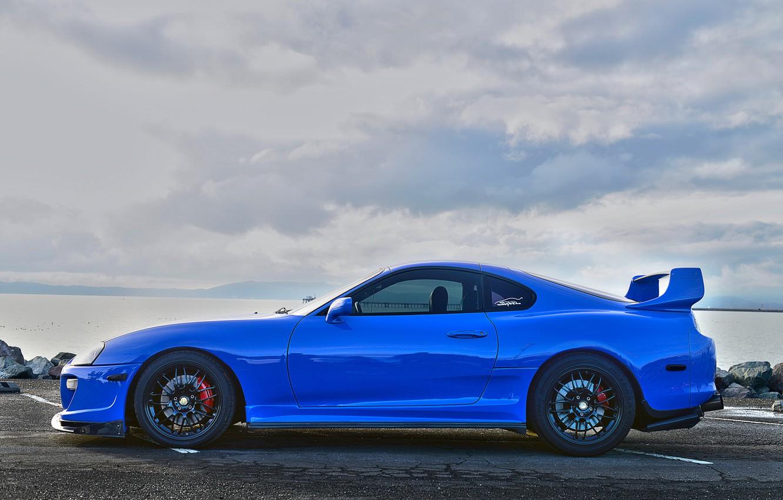 Photo wallpaper wheels, supra, side, black, toyota, blue, view