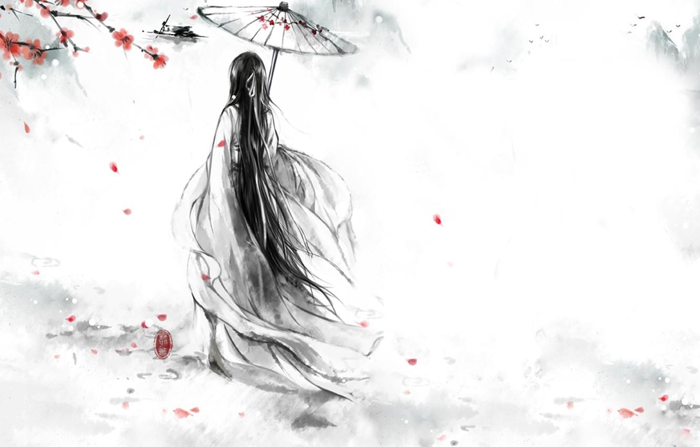 Photo wallpaper girl, flowers, birds, red, umbrella, petals, Sakura, kimono, Monochrome, monochrome