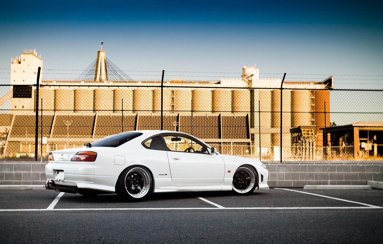 Photo wallpaper white, S15, Silvia, Nissan, white, Nissan, tuning, rear, Silvia