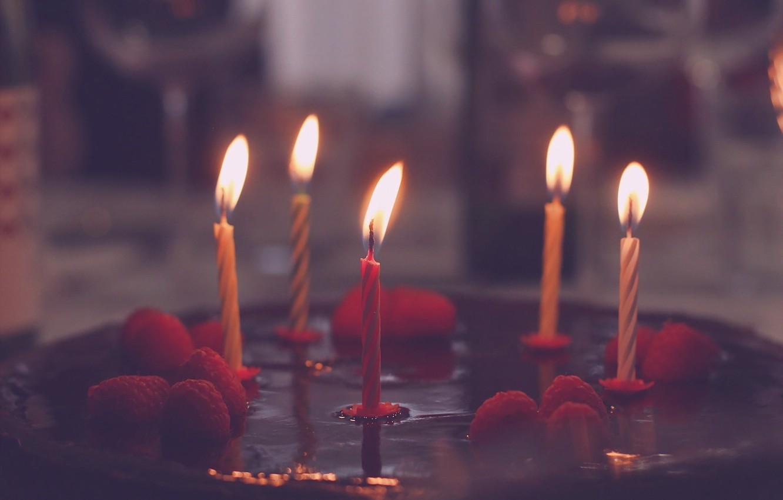 Photo wallpaper holiday, candles, cake