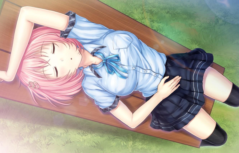 Photo wallpaper girl, bench, sleep, art, kazuharu kina, ayame no machi to ohimesama