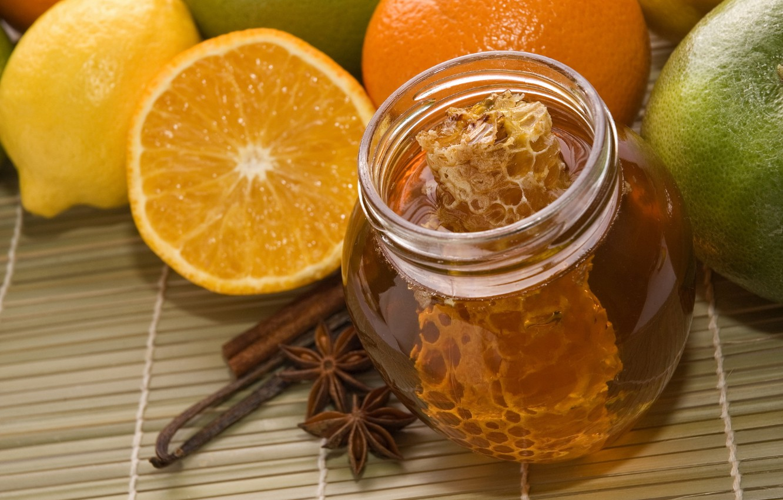 Photo wallpaper lemon, orange, food, cell, honey, Bank, fruit, sweet