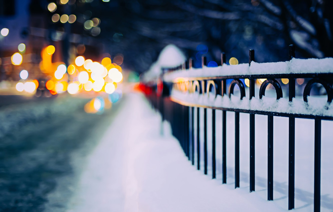 Photo wallpaper winter, road, snow, night, lights, the fence, fence, bokeh