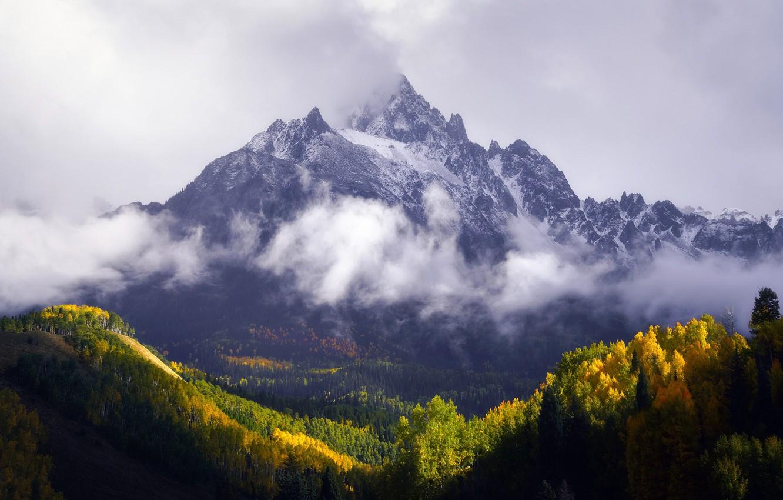 Photo wallpaper autumn, forest, mountains, mountain