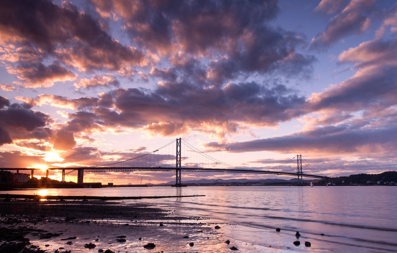 Photo wallpaper the sky, clouds, landscape, sunset, bridge, nature, river, Scotland