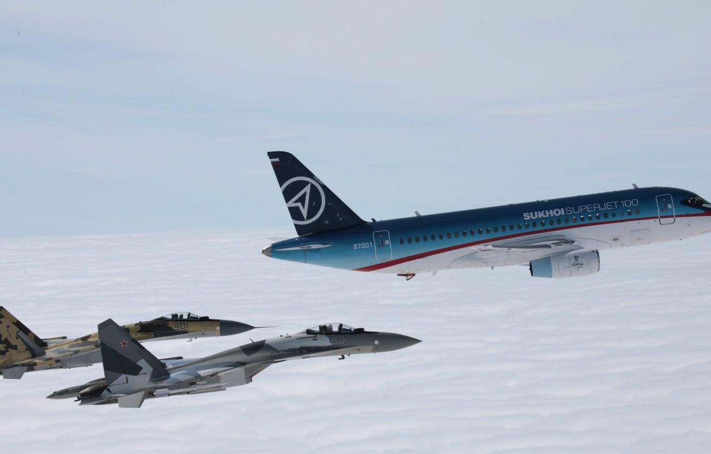 Photo wallpaper flight, the plane, Sukhoi