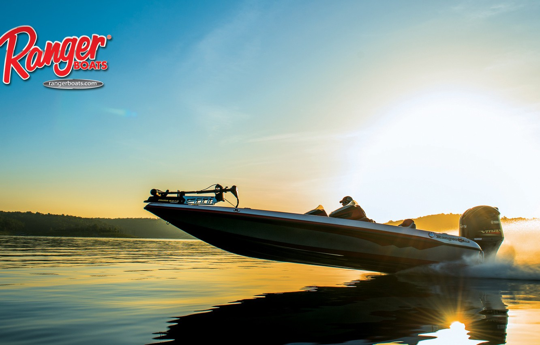 Photo wallpaper the sky, water, shore, motor, boat, Ranger