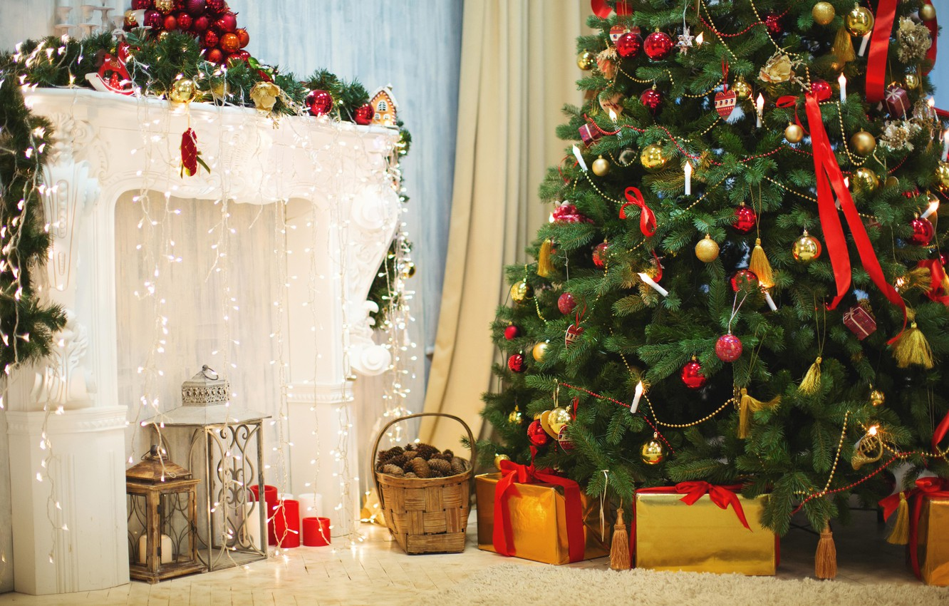 Photo wallpaper decoration, toys, tree, Christmas, lights, gifts, New year, tree, fireplace, garland, basket