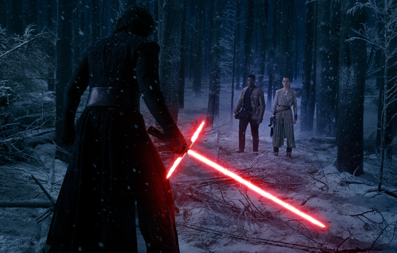 Wallpaper Forest Snow Trees Night Fiction Sword Finn Star Wars The Force Awakens Kylo Ren Star Wars The Force Awakens Adam Driver Rey Daisy Ridley John Boyega Daisy Ridley John Boyega Images