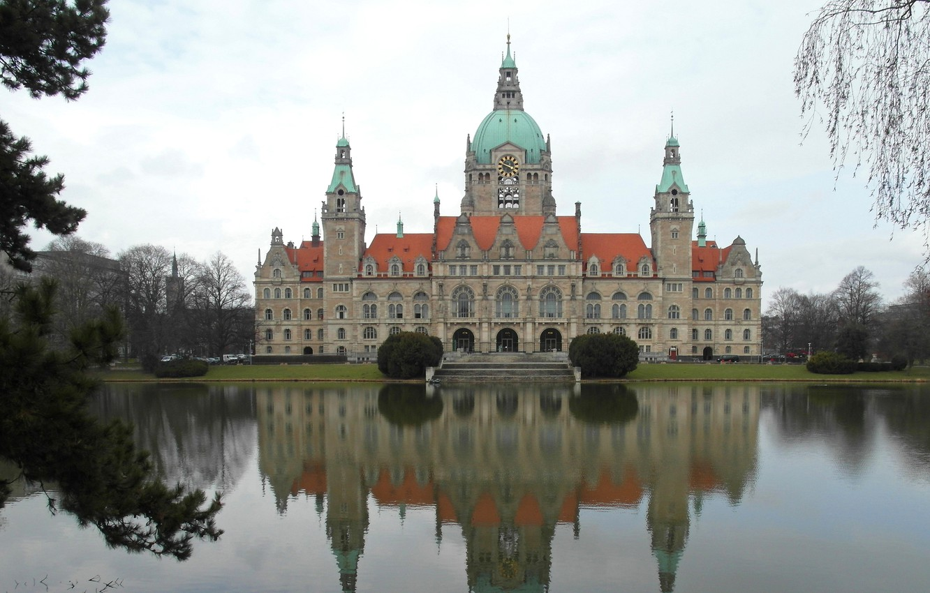 Photo wallpaper landscape, pond, reflection, Germany, Hanover, new town hall
