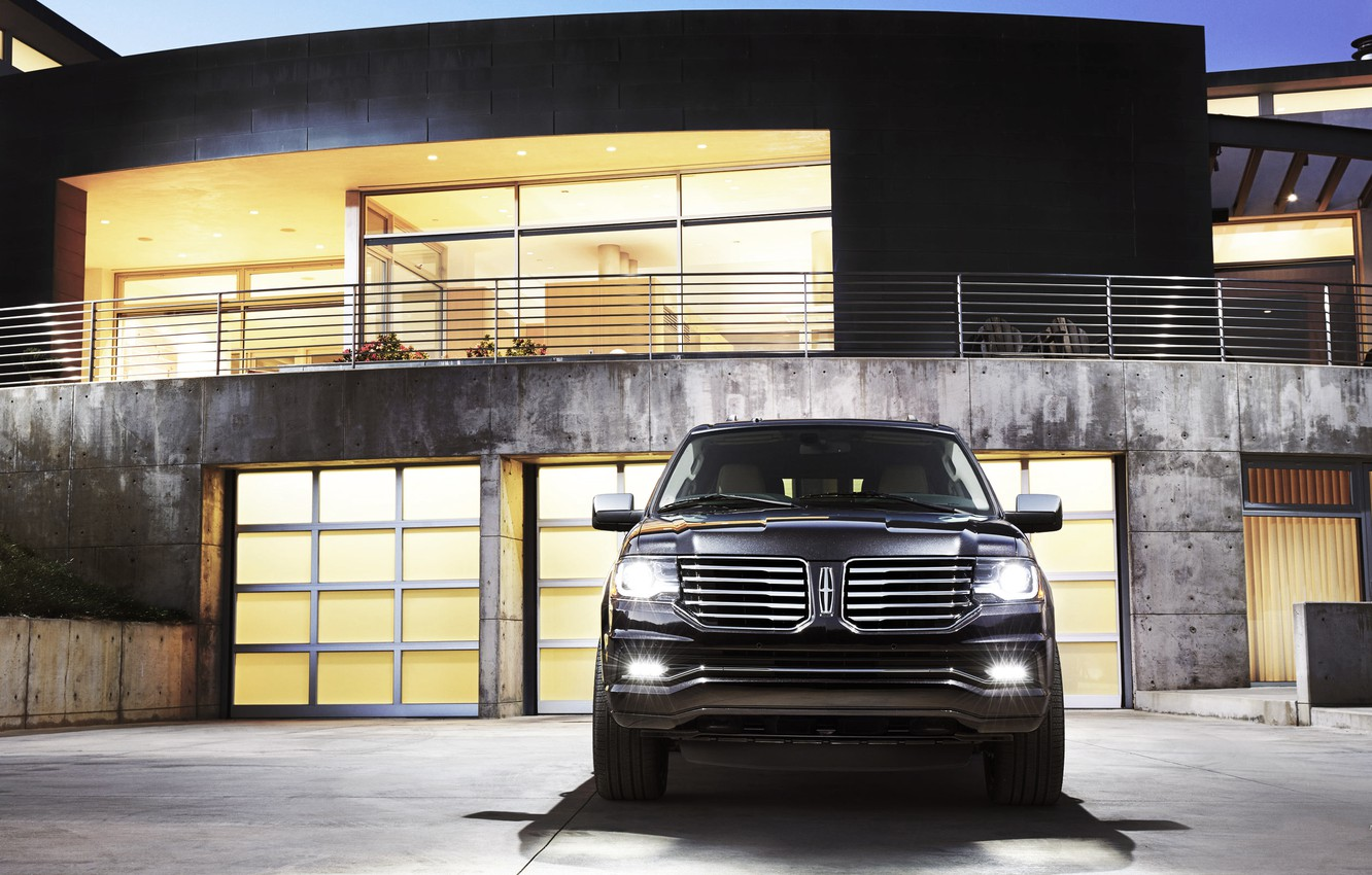 Photo wallpaper The evening, Auto, Black, House, Machine, Light, Lights, SUV, The front, Lincoln Navigator
