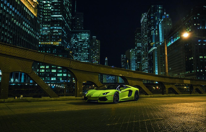 Photo wallpaper Roadster, Lamborghini, City, Chicago, Green, Front, Downtown, LP700-4, Aventador, Supercar, Nigth