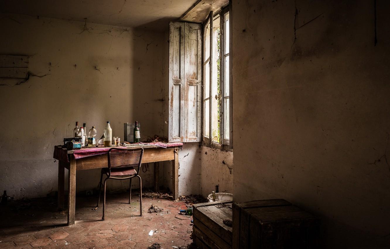Photo wallpaper table, window, bottle