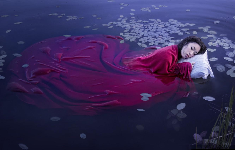 Photo wallpaper girl, lake, sleep