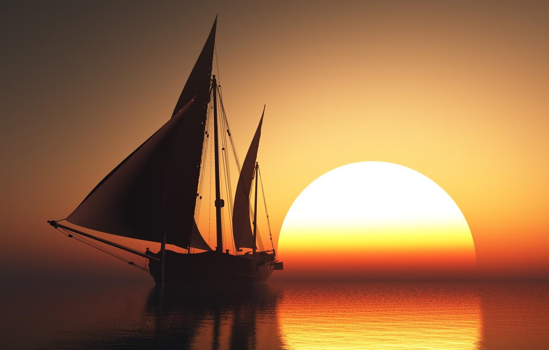 Photo wallpaper sunset, sailboat, Sea