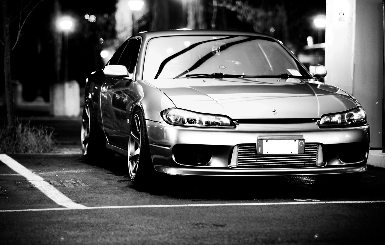 Photo wallpaper cars, nissan, black and white, cars, Nissan, silvia, auto wallpapers, car Wallpaper, auto photo, s15