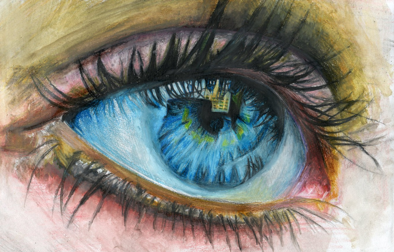Photo wallpaper eyelashes, reflection, painting, children's eyes