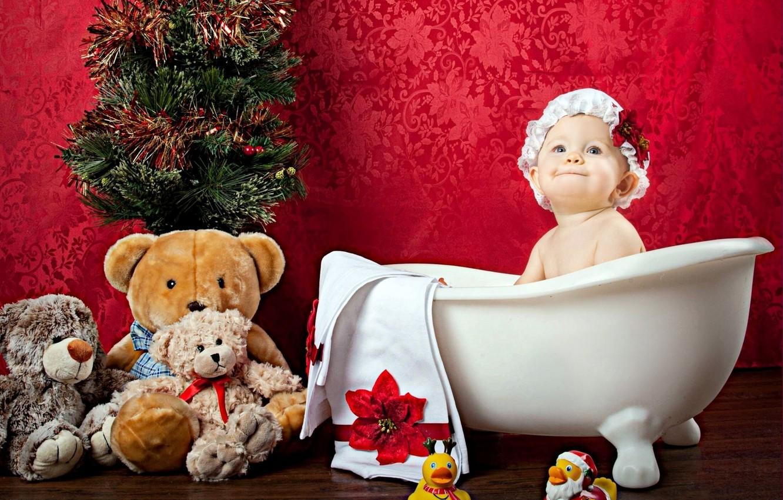 Photo wallpaper toy, girl, bath, tree, cap, baby, child, Teddy bear, ducks