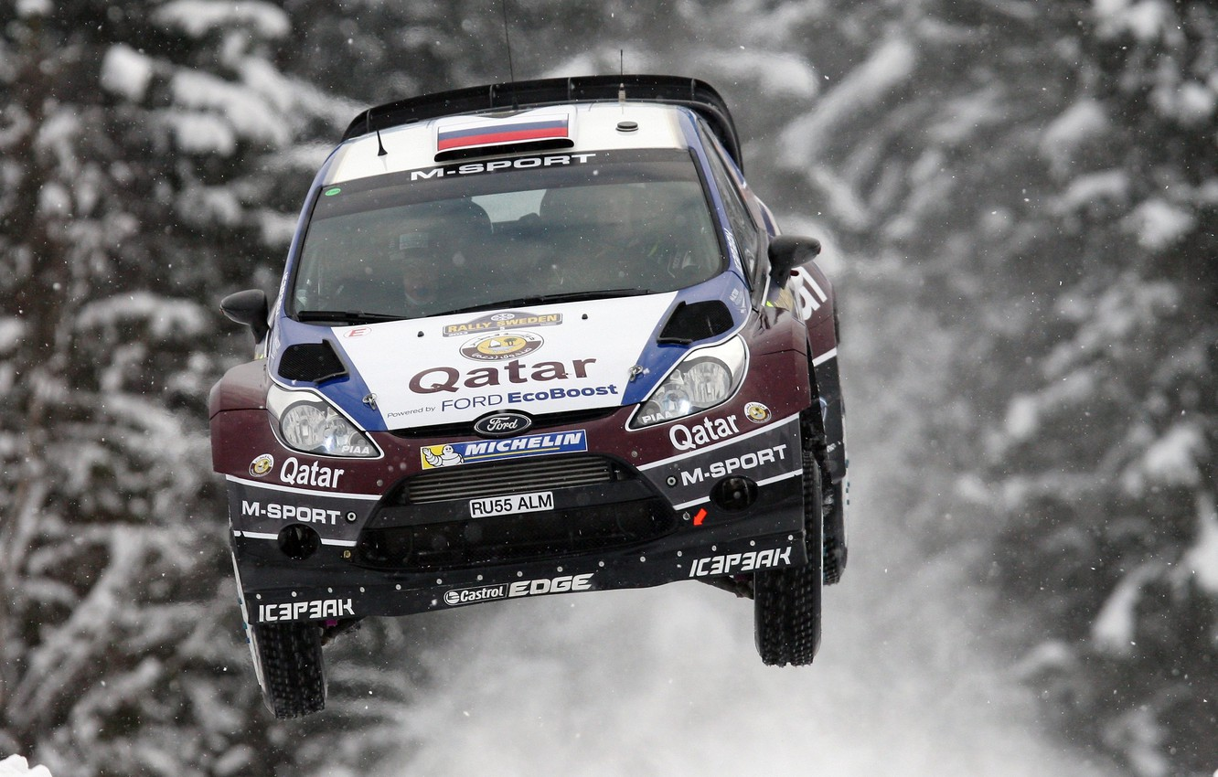 Photo wallpaper Ford, Winter, Snow, Forest, Machine, Flight, WRC, Rally, Fiesta, In the air, Evgeny Novikov, Competition