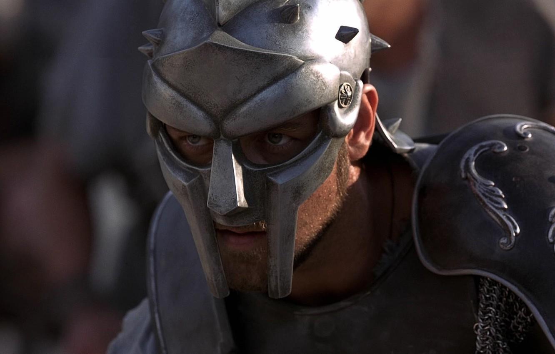 Photo wallpaper Look, Armor, Warrior, Helmet, Actor, Movie, Fighter, Male, The film, Gladiator, Wallpaper, Maximus, Russell Crowe, …