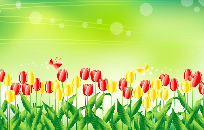 Photo wallpaper butterfly, figure, vector, meadow, tulips