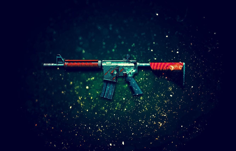 Photo wallpaper Counter-Strike: Global Offensive, CS:GO, Bullet Rain, the rain of bullets, M4A4