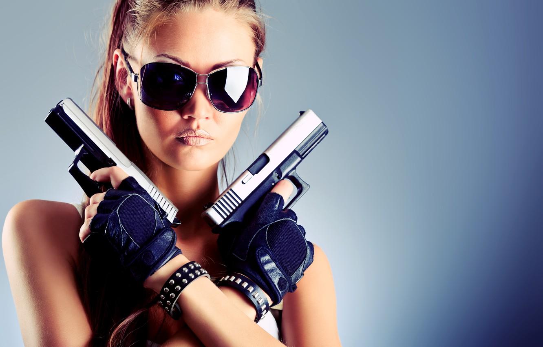 Photo wallpaper girl, face, weapons, background, guns, glasses, gloves