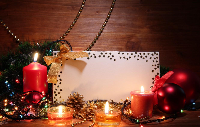 Photo wallpaper balls, candles, tape, stars, twilight, garland, tinsel, bow, bumps, card, Christmas decorations