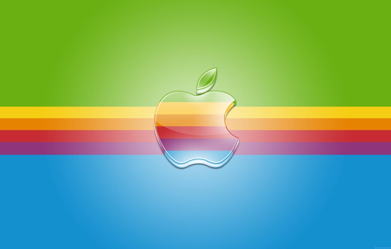 Photo wallpaper strip, Apple, rainbow, logo